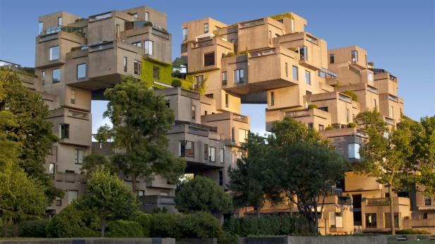 Complejo habitacional de Habitat 67 en Montreal construido en estilo brutalista