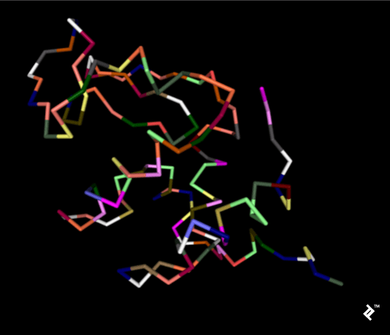 Simplified protein backbone colored by amino acids where cysteines are yellow