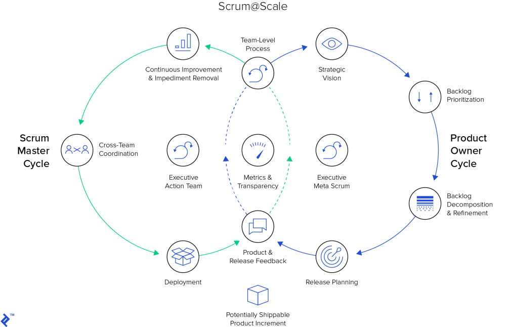 medium resolution of scrum scale scrum master and product owner cycles