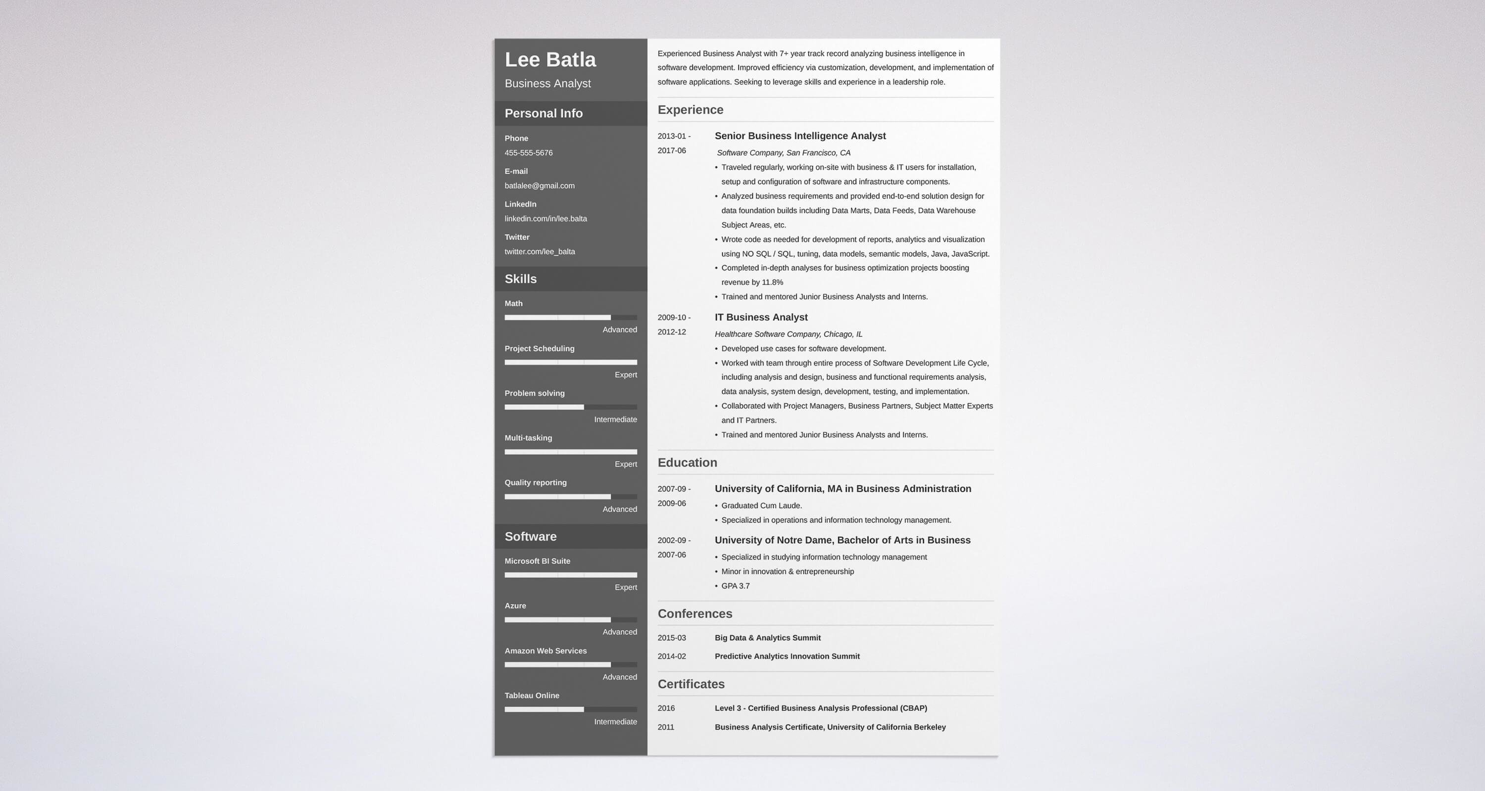 Business Analyst Resume Sample & Complete Guide 20 Examples