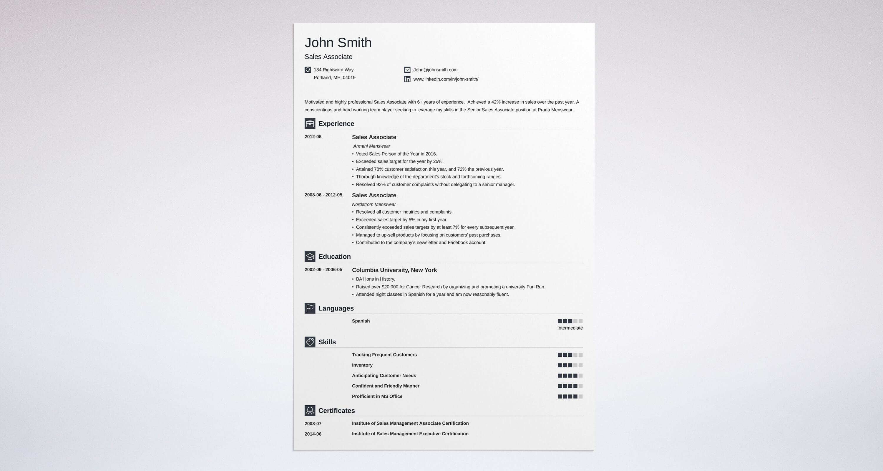Sales Associate Resume Sample & Complete Guide 20 Examples