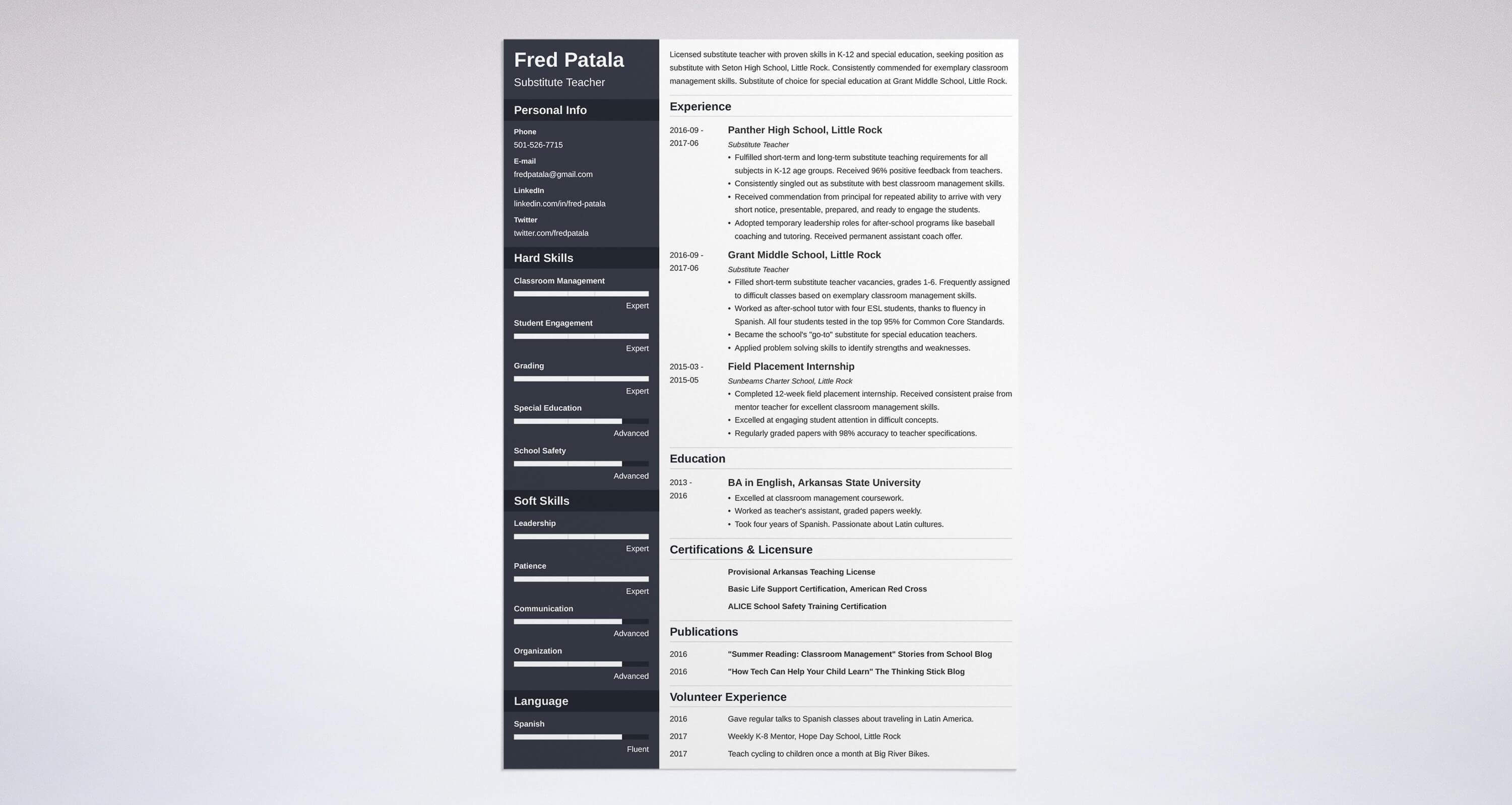 Substitute Teacher Resume Guide With A Sample 20 Examples