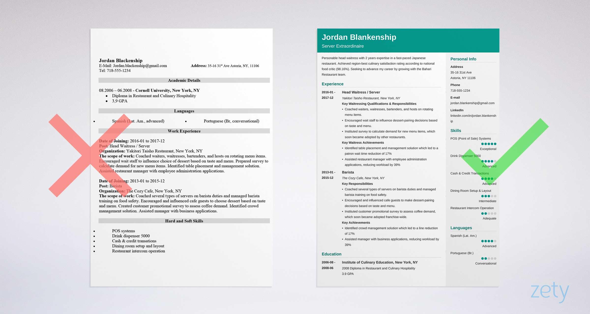 resume sample waiter