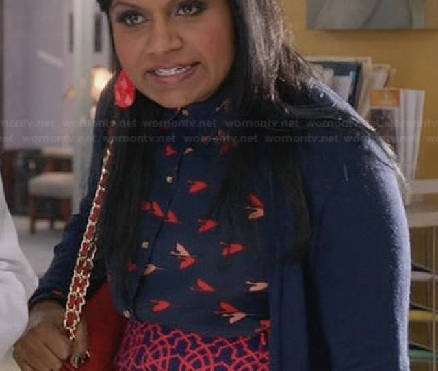 Wornontv Mindys Navy And Red Bird Print Top And Geometric Patterned Skirt On The Mindy Project Mindy Kaling Clothes And Wardrobe From Tv