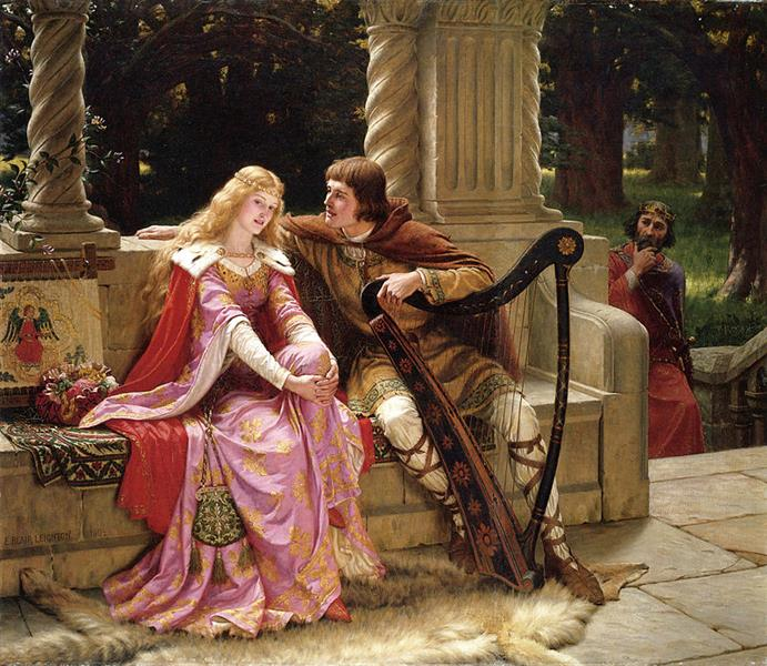 man playing harp to a woman