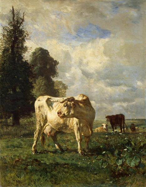 Cows In A Field : field, Field,, Constant, Troyon, WikiArt.org