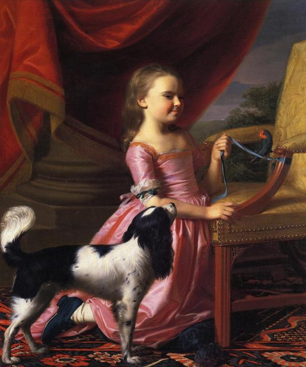 Young Lady With Bird And Dog 1767 - John Singleton Copley