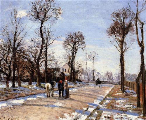 Pissarro, Street, Winter, Sunlight and Snow, c. 1872