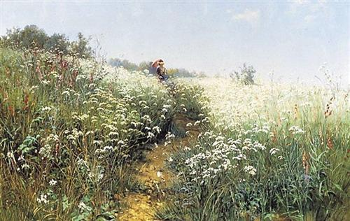 A woman under an umbrella on a flowering meadow - Ivan Shishkin