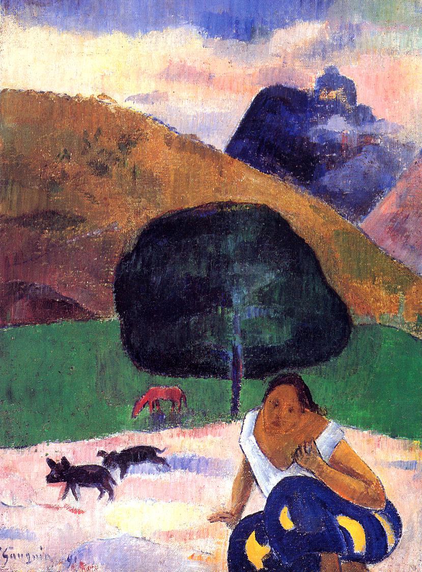 Landscape with black pigs and a crouching Tahitian - Paul Gauguin - WikiArt.org - encyclopedia of visual arts