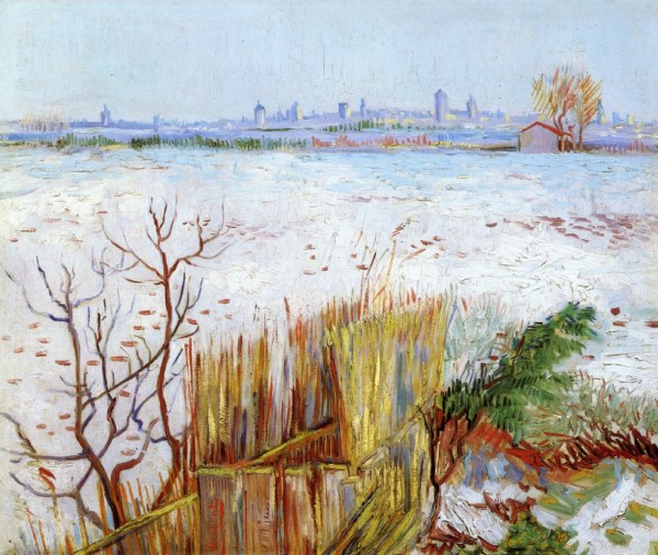 Snowy Landscape With Arles In Background 1888