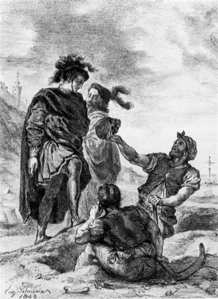 Hamlet and Horatio before the Grave Diggers - Eugene Delacroix