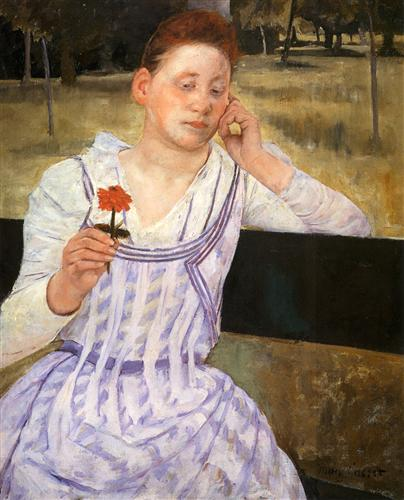 Woman With A Red Zinnia - Mary Cassatt