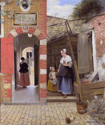 Courtyard of a house in Delft - Pieter de Hooch