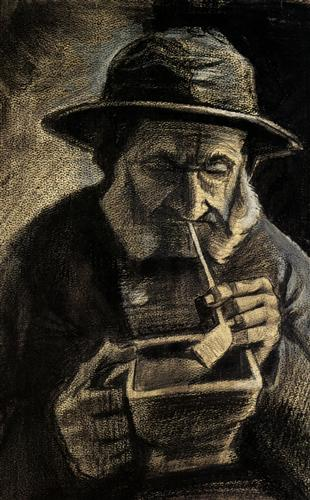 Fisherman with Sou'wester, Pipe and Coal-pan - Vincent van Gogh