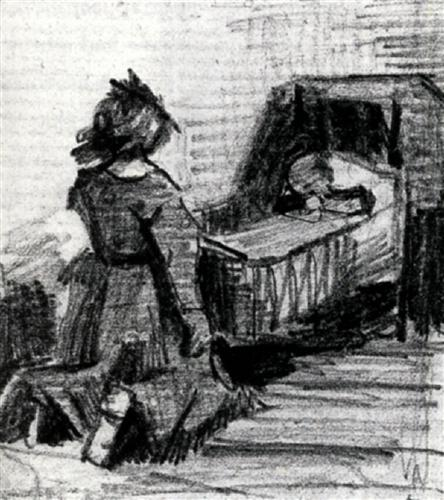 Girl Kneeling in Front of a Cradle - Vincent van Gogh