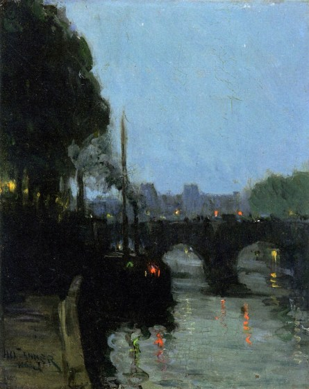 Image result for henry ossawa tanner, the seine - evening