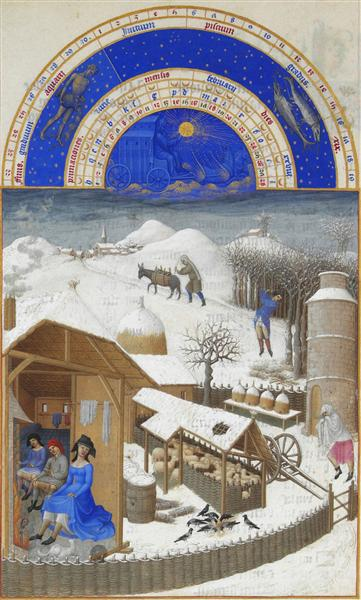 "Limbourg brothers, ""Facsimile of February: Farmyard Scene with Peasants"""