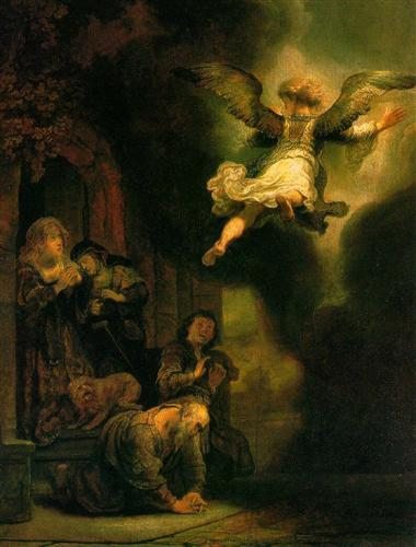 The Archangel Raphael Taking Leave of the Tobit Family - Rembrandt