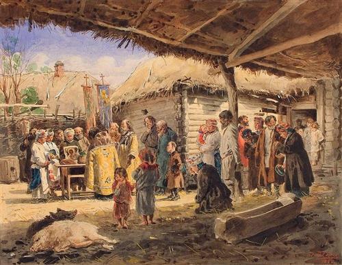 Prayer service at the farm in Ukraine - Vladimir Makovsky