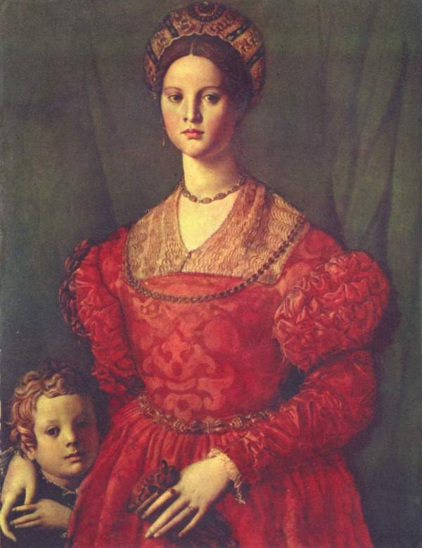 Portrait Of Young Woman With Son - Agnolo Bronzino