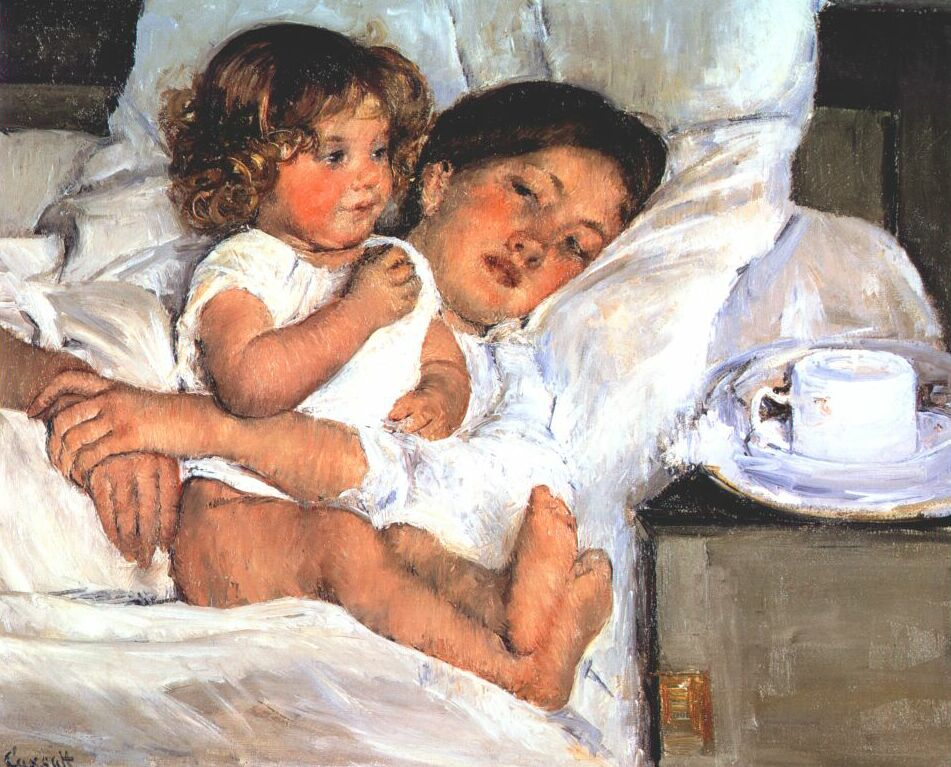 Girl Holding Teddy Bear Wallpapers Breakfast In Bed 1897 Mary Cassatt Wikiart Org