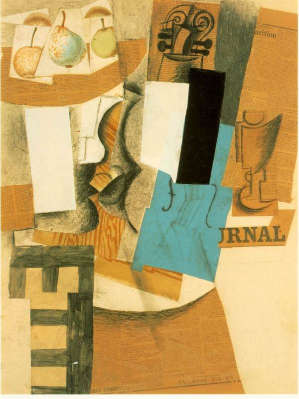 Life With Violin And Fruits - Pablo Picasso