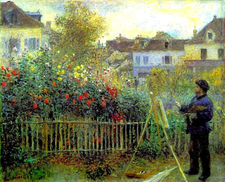 Monet painting in his garden at Argenteuil - Renoir Pierre-Auguste