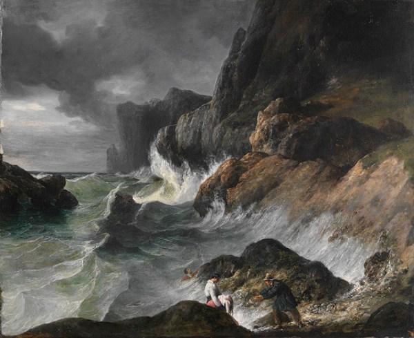 stormy coast scene shipwreck