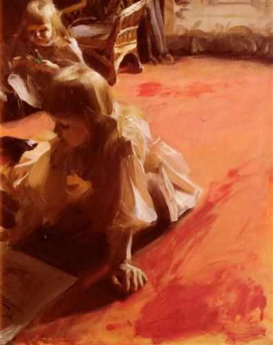 A Portrait Of The Daughters Of Ramon Subercasseaux - Anders Zorn