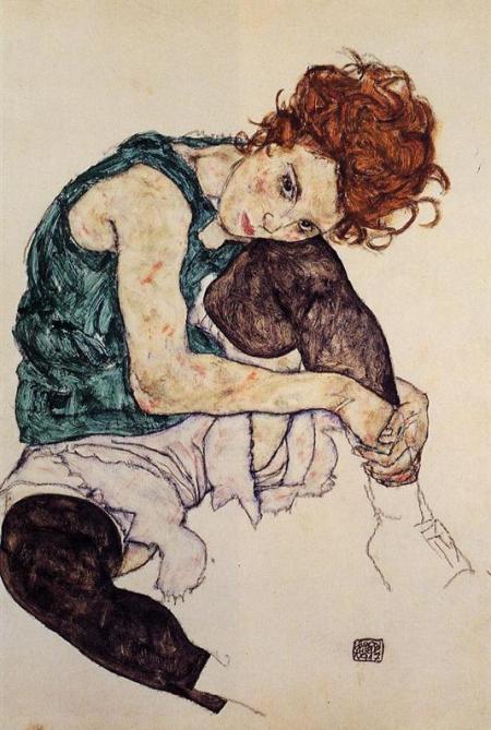 Mujer sentada con la rodilla flexionada. 1917. Egon Schiele.