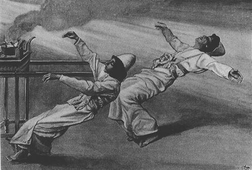 Nadab and Abihu are killed in the Tabernacle, Leviticus - James Tissot
