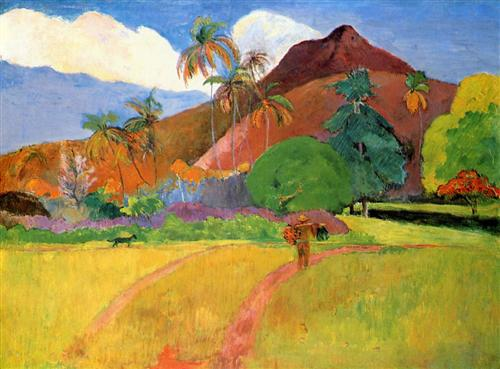 Tahitian mountains - Paul Gauguin