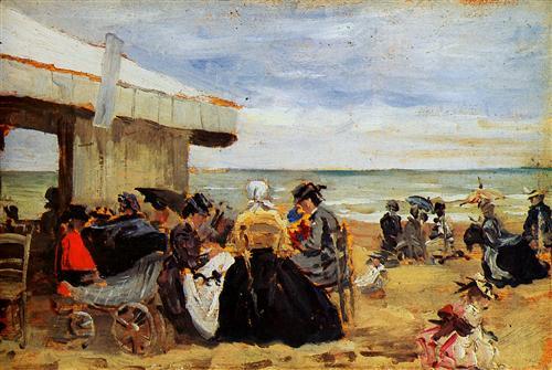 A Beach Scene - Eugene Boudin