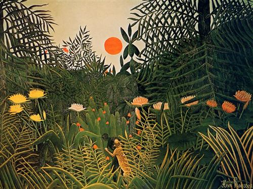 Negro Attacked by a Jaguar - Henri Rousseau