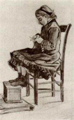 Girl Sitting, Knitting - Vincent van Gogh
