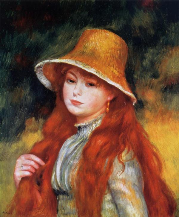 Young Girl In Straw Hat .1884 - Pierre-auguste Renoir