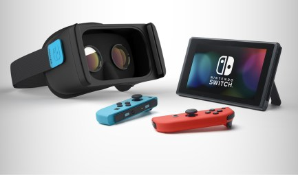 nintendo switch vr mockup headset controllers screen