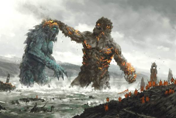 the ancients giants fighting