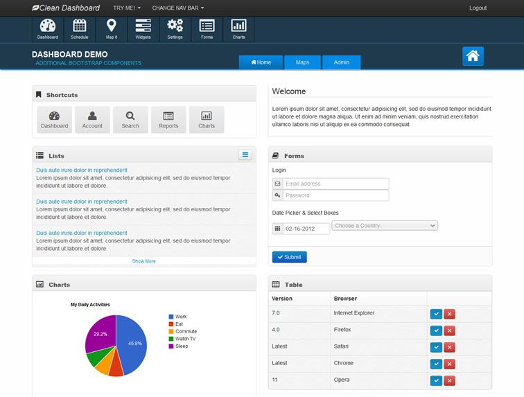 010 Clean Bootstrap Dashboard Theme - 15 belos templates grátis para o seu admin em Bootstrap