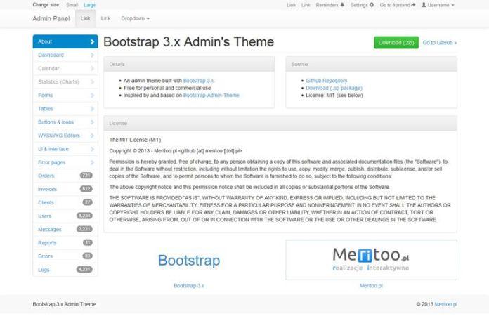 013 Meritoo – A Minimal Admin Theme - 15 belos templates grátis para o seu admin em Bootstrap