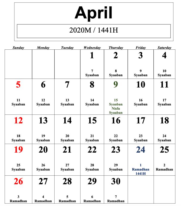 kalendar islam 2020 april