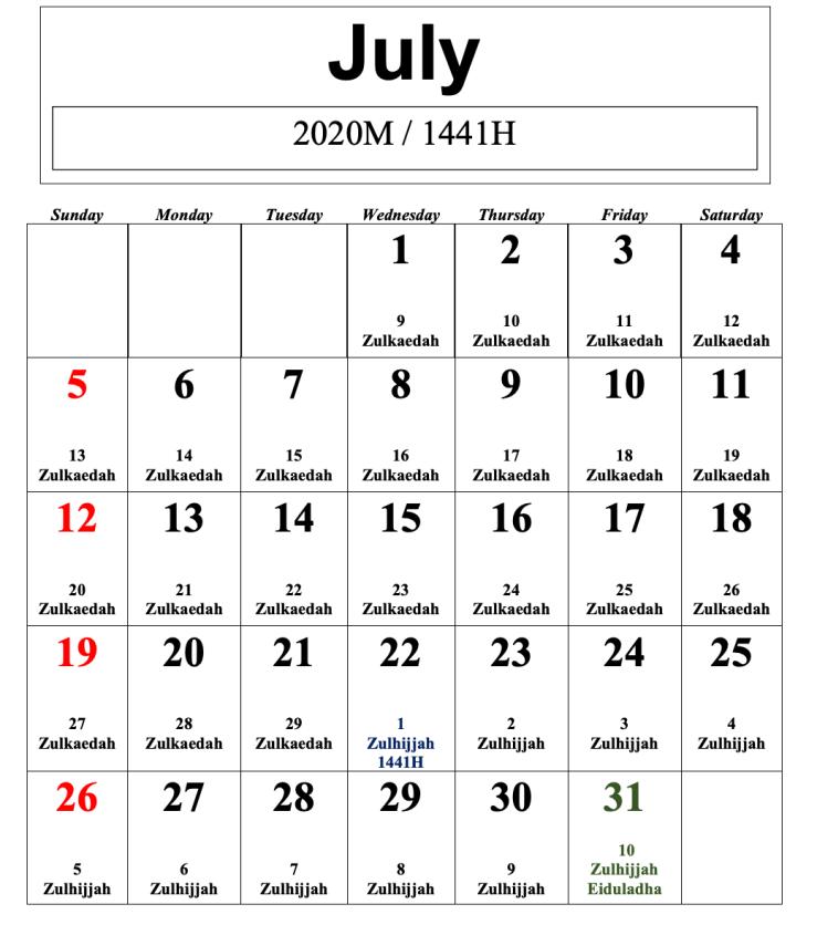 kalendar islam 2020 julai