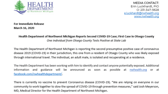 Two new COVID-19 cases reported in northern Michigan | WPBN