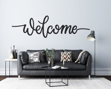 Welcome - Cursive Text - Custom Vinyl Wall Decal - Free Shipping