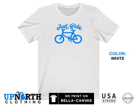 UpNorth Tee - Bicycle - Just Ride (Blue) T-Shirt - Free Shipping