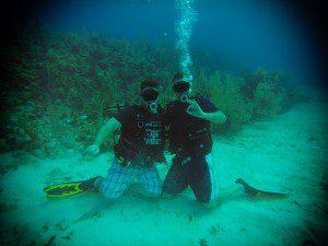 Scuba divers on ocean floor