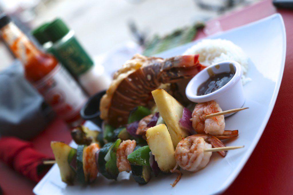 Lobster with shrimp kabobs