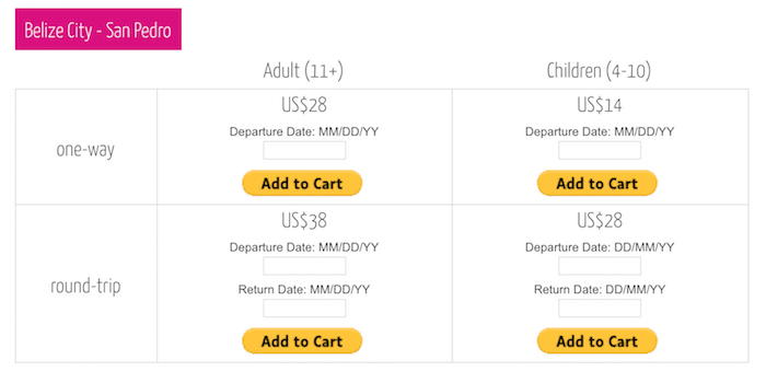 Chart of booking taxi