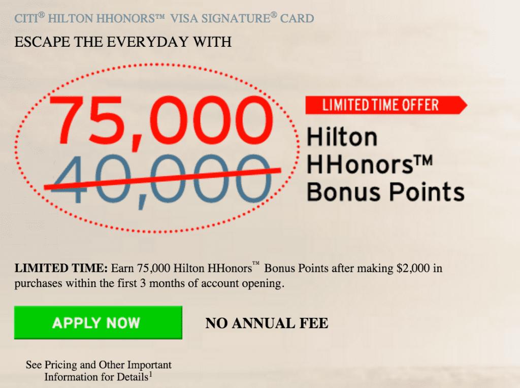 HILTON HONORS CITI 75K OFFER